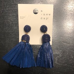Blue tassel earrings. NWT